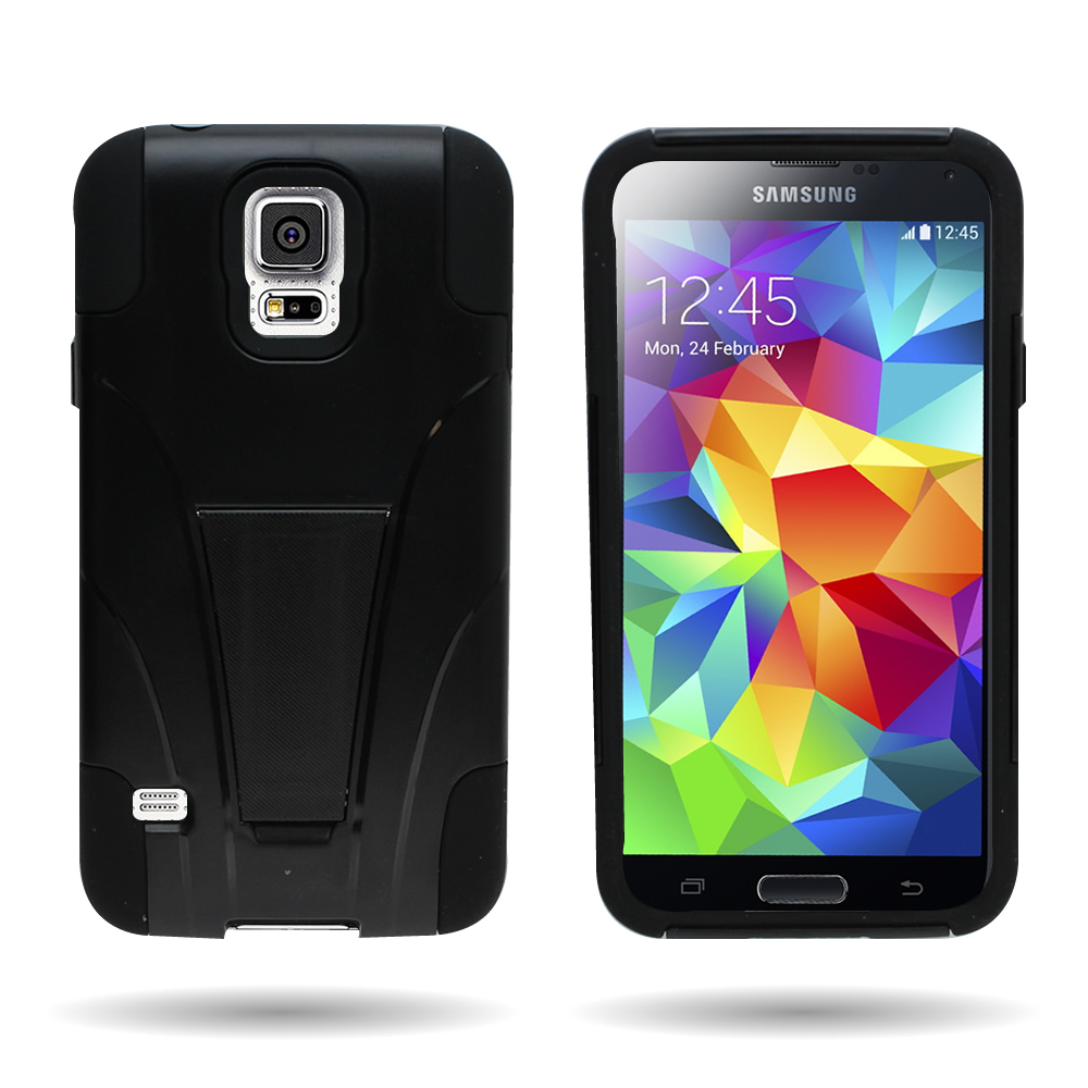 heavy duty dual layer protective phone cover case for samsung galaxy s5 ebay. Black Bedroom Furniture Sets. Home Design Ideas