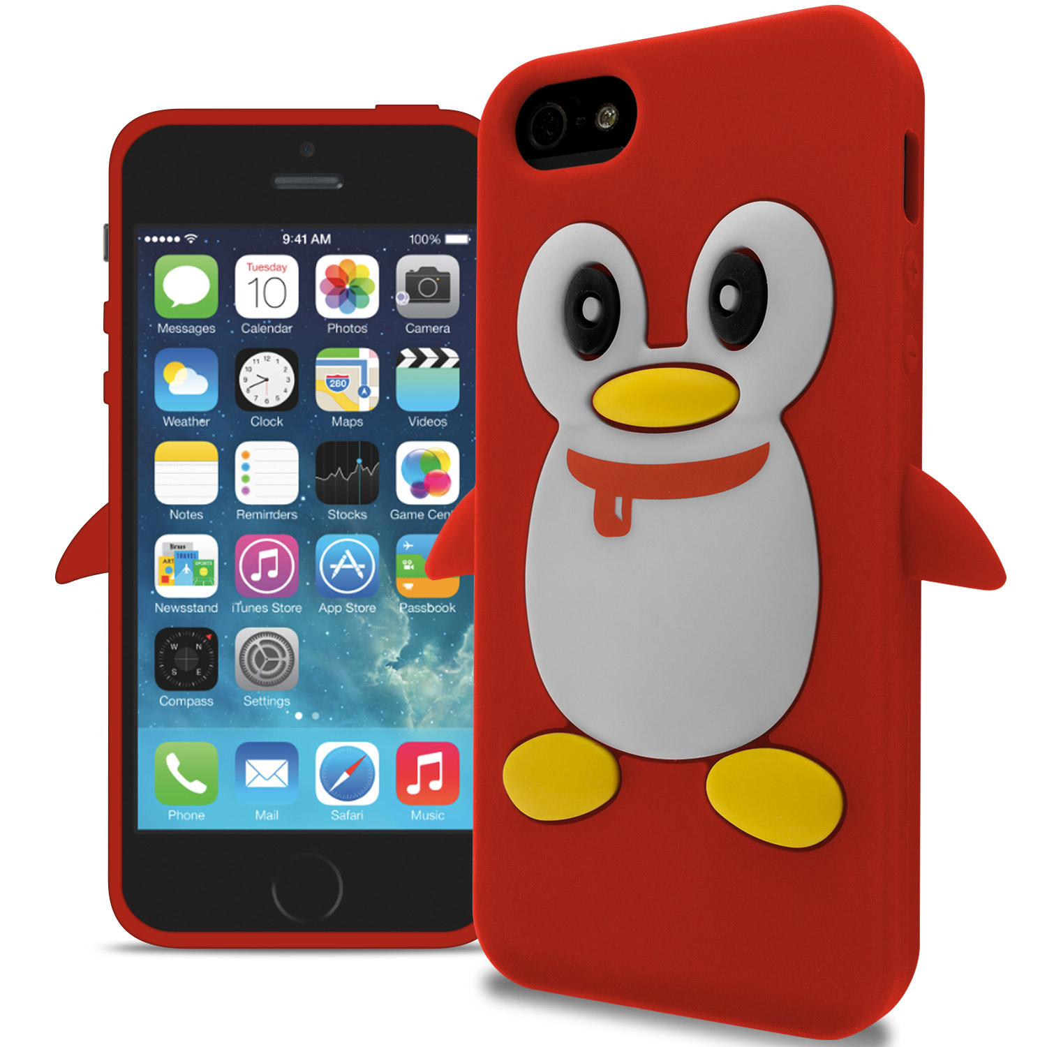 For Apple iPhone 5S / 5 Cute Penguin Design Silicone Soft ...