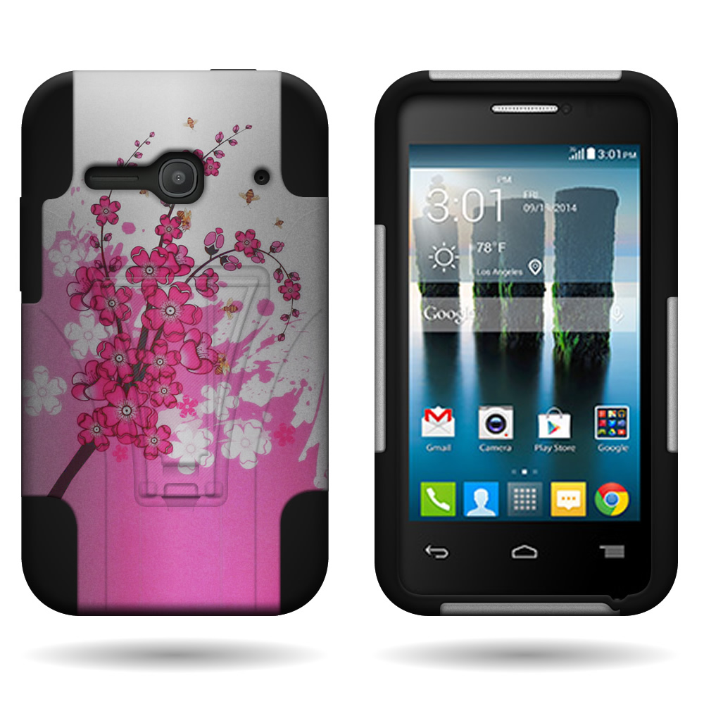 Hybrid case hard soft design cover for alcatel one touch